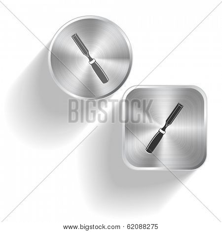 Chisel. Vector set steel buttons