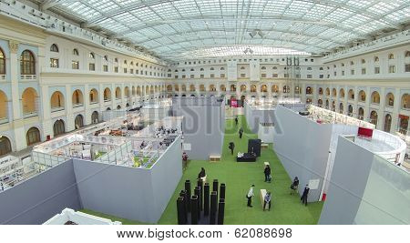 MOSCOW, RUSSIA - DEC 24, 2013: (aerial view) Festival of Architecture 2013 in exhibition center Gostiny Dvor.