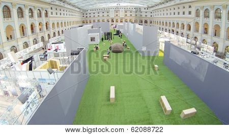MOSCOW, RUSSIA - DEC 24, 2013: (aerial view) Exposition on Festival of Architecture 2013 in exhibition center Gostiny Dvor.