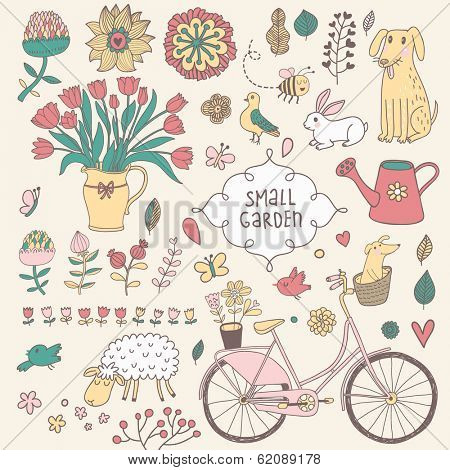 Romantic vector set in vintage style. Cartoon romantic elements - bicycle, watering can, rabbit, dog, rabbit, bouquet, sheep, pigeon and a lot of different spring flowers.