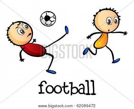 Illustration of the stickmen playing football on a white background