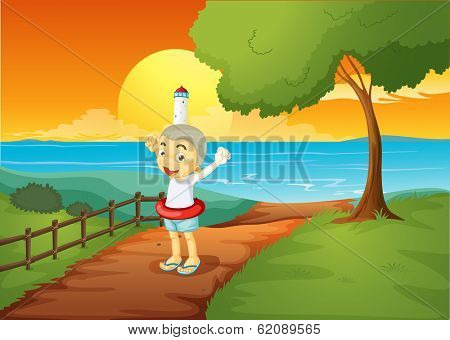 Illustration of a young boy standing across the lighthouse
