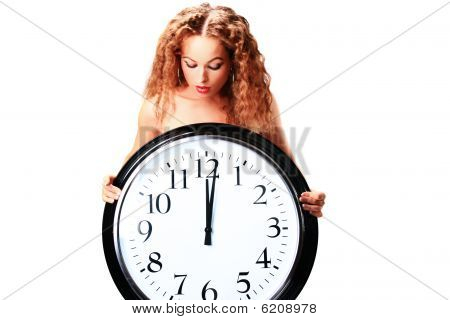 Young Woman With A Wall Clock