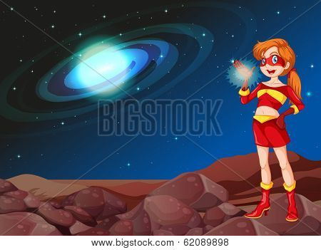 Illustration of a lady superhero at the outerspace