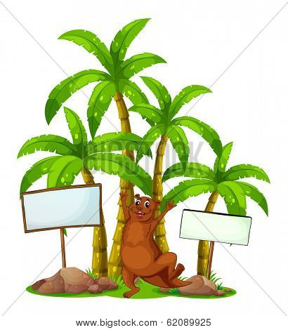 Illustration of a brown sealion in the middle of the signboards on a white background