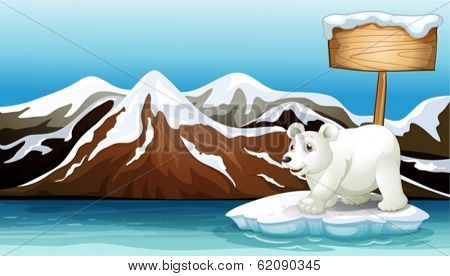 Illustration of an iceberg in the ocean with an empty signboard and a Polar bear