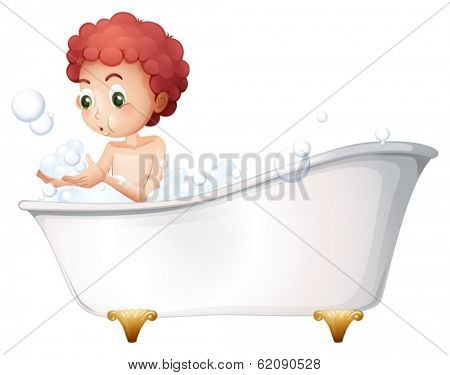 Illustration of a young boy playing at the bathtub while taking a bath on a white background