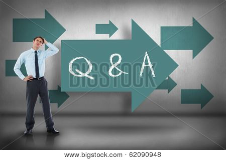 The word q & a and thoughtful businessman with hand on head against blue arrows pointing