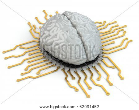 Human brain as computer chip. Concept of CPU. 3d