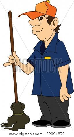 Janitor Standing with Mop