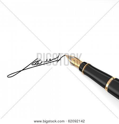 Fountain golden pen on white background