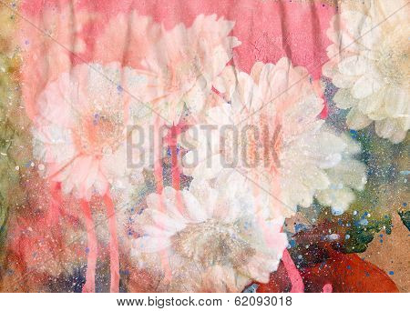 Abstract ink painting combined with flowers on paper texture - floral grunge