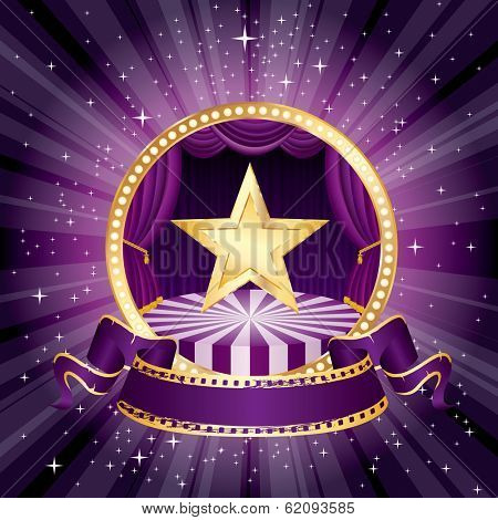 vector purple circle circus stage with golden star and blank banner
