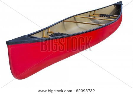 red tandem canoe with wooden seats and yoke, isolated on white with a clipping path