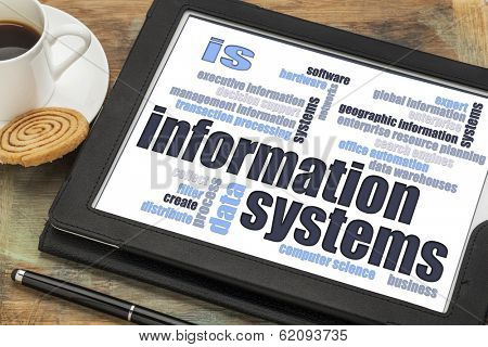information systems word cloud on a digital tablet with a cup of coffee