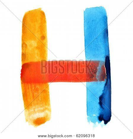 Letter H - colorful watercolor alphabet