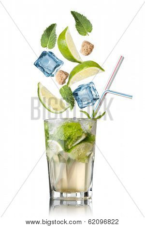 mohito cocktail with falling ingredients isolated on white