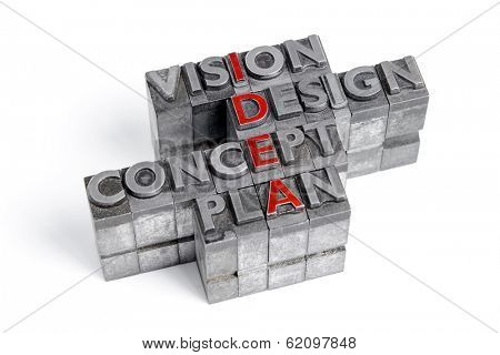 Idea as an acronym with the words Vision Design Concept and Plan in old metal letterpress printing blocks isolated on white.