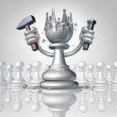 stock photo of king  - Power to change personal growth concept with a chess pawn using a hammer and chisel sculpting a king crown from his body as a business concept of taking control of your destiny and metaphor for leadership and success - JPG