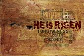 picture of calvary  - Religious Words on Wood Background ideal for church projects - JPG