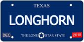 stock photo of texas-longhorn  - A fake imitation Texas License Plate with the word LONGHORN and The Lone Star State making a great concept - JPG