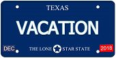 stock photo of texas star  - A fake imitation Texas License Plate with the word VACATION and The Lone Star State making a great concept - JPG