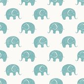 foto of pretty-boy  - Seamless background with cute little elephants - JPG