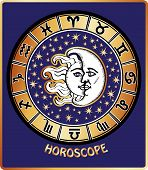 All Zodiac Sign In Horoscope Circle.sun And Moon.retro