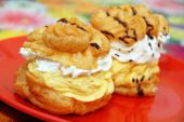 picture of cream cake  - two sweet cakes filled with yellow and white cream - JPG