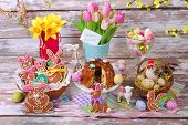 Easter Table Decoration With Gingerbread Cookies And Ring Cake