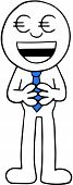 picture of greedy  - Hand drawn cartoon businessman greedy with euro money eyes and standing hands together - JPG