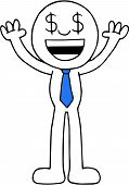 foto of greedy  - Hand drawn cartoon dollar money eyes businessman happy greedy and hands raised up - JPG