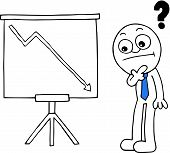 pic of going out business sale  - Hand drawn cartoon businessman thinking with a question mark and standing sales chart arrow going down symbolizing loss - JPG