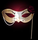 picture of mummer  - beige carnival half mask of abstract lady - JPG