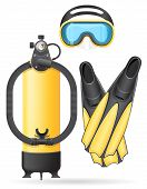 stock photo of flipper  - aqualung mask tube and flippers for diving vector illustration isolated on white background - JPG