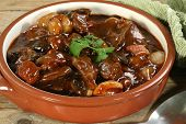 picture of boeuf  - french food beef cooked in red wine sauce - JPG