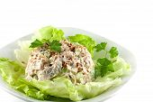 picture of caesar salad  - Homemade chicken salad on a bed of lettuce - JPG