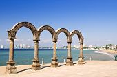 stock photo of malecon  - Los Arcos Amphitheater at Pacific ocean in Puerto Vallarta - JPG