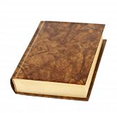stock photo of leather-bound  - Old blank hardcover leather bound book isolated on white background - JPG
