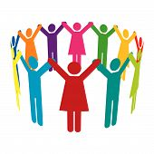 Vector Circle of Colourful People with Hands Up