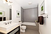 stock photo of toilet  - Interior three piece bathroom - JPG