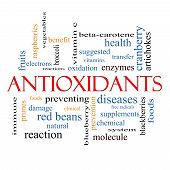 stock photo of enzyme  - Antioxidants Word Cloud Concept with great terms such as foods prevent diseases and more - JPG