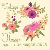 stock photo of bunch roses  - Vintage flowers - JPG