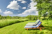 picture of lawn chair  - Two wooden outdoor lounge chairs on lush green lawn with trees - JPG