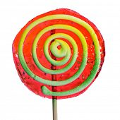 a colorful lollipop with a spiral pattern on a white background