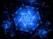 foto of graphene  - Blue hexagonal object nanotechnology computer generated fractal background - JPG