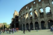 ROME, ITALY - APRIL 10: The Colosseum or Roman Coliseum (also spelled Coliseum) originally the Flavi