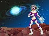 image of outerspace  - Illustration of a male superhero at the outerspace - JPG
