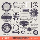 pic of oval  - empty rubber stamps with copyspace for your text and - JPG