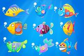 pic of underworld  - Illustration of the nine colourful fishes under the deep ocean - JPG